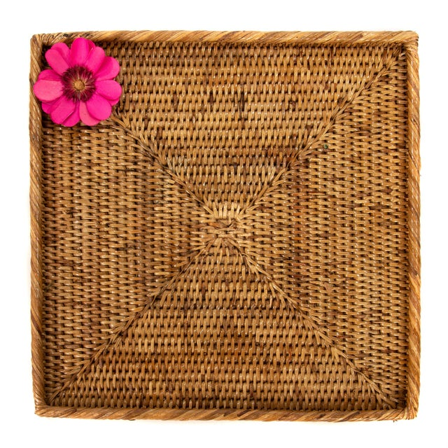 Boho Chic Boho Chic Artifacts Rattan Square Tray For Sale - Image 3 of 3