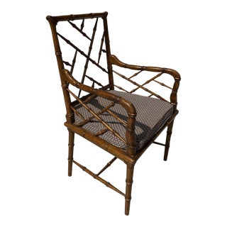 Faux Bamboo and Cane Accent Chair. For Sale