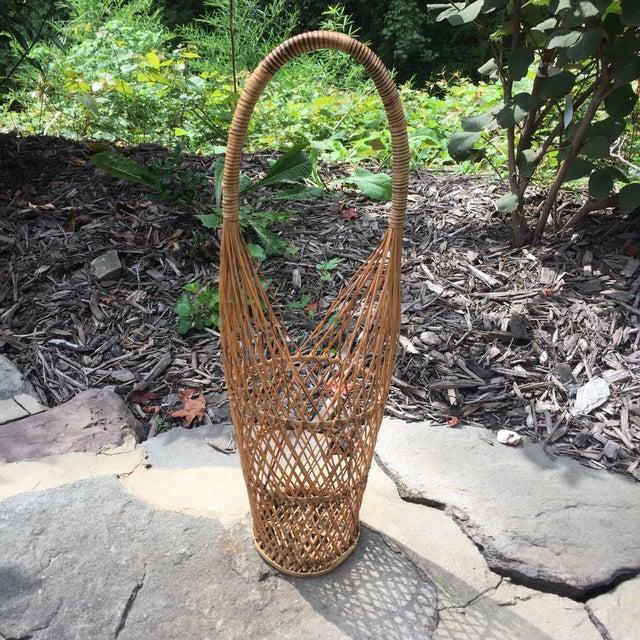 Vintage rattan reed wicker wine caddy chairish for Wicker reed