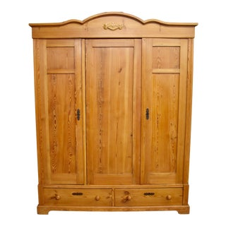 Antique Pine Three Door Knock-Down Armoire For Sale