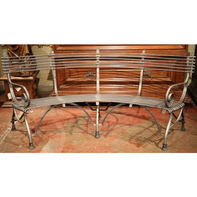 French Polished Iron Hoof Foot Curved Bench Signed Sauveur Arras For Sale - Image 5 of 10