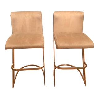 Brass Cantilever Bar Stools - a Pair For Sale