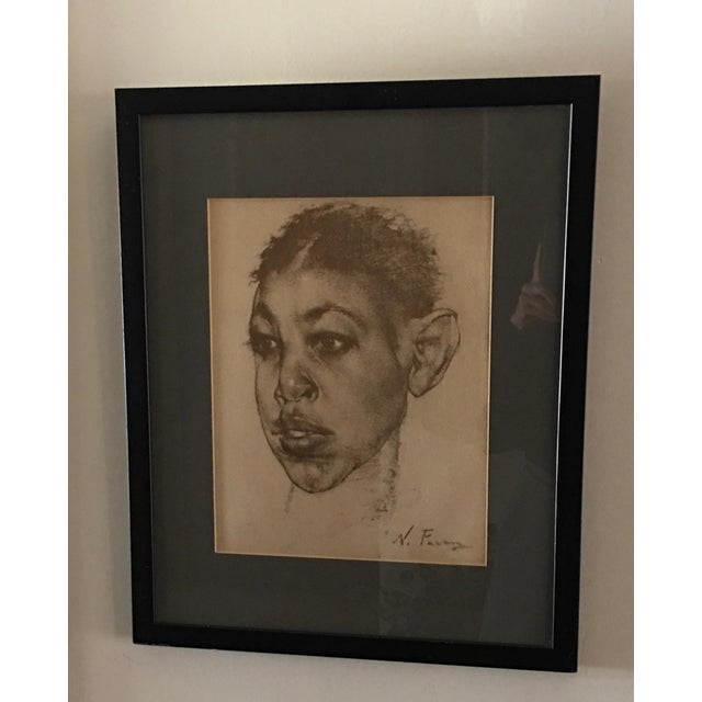 Wonderful print of a famous charcoal by Nicolai Fechin. Matted and framed under plexiglass. Frame has some wear and...