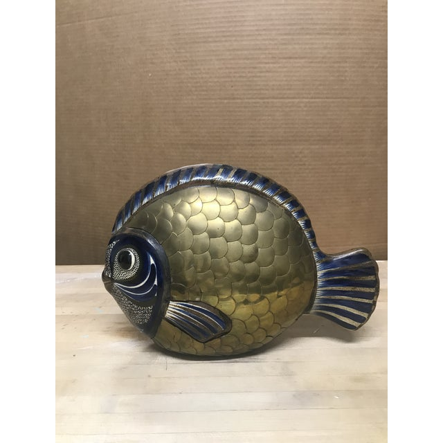 Vintage Tonala Brass and Ceramic Fish For Sale - Image 4 of 7