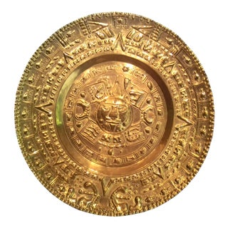 "Vintage Massive 27"" Brass Mayan Calendar With Lovely Patina For Sale"