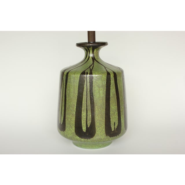 Danish Modern Table Lamp with Moss Green Glaze - Image 3 of 5