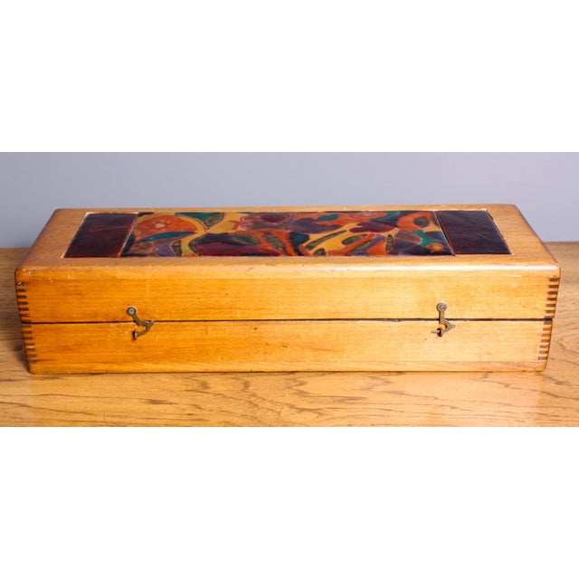 Late 1940s Elizabeth Bensley Enamel Wooden Box - Image 2 of 6