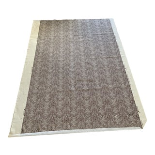 Quadrille Hand Print Linen Fabric China Seas Petit Zig Zag in Chocolate on Tint- 2 Yards For Sale