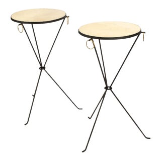 Wrought Iron and Brass Drink Tables with Parchment Tops in the manner of Jean-Michel Frank - a Pair For Sale