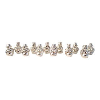 Italian Silver Snowman Place Card Holders - Set of 12 For Sale