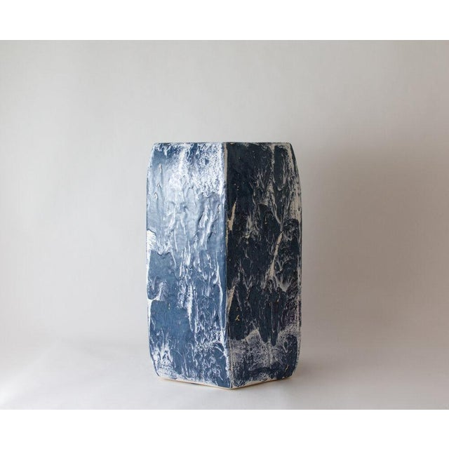 Paul Schneider Paul Schneider Ceramic Hexagonal Stool in Drip Brushed Navy Glaze For Sale - Image 4 of 4