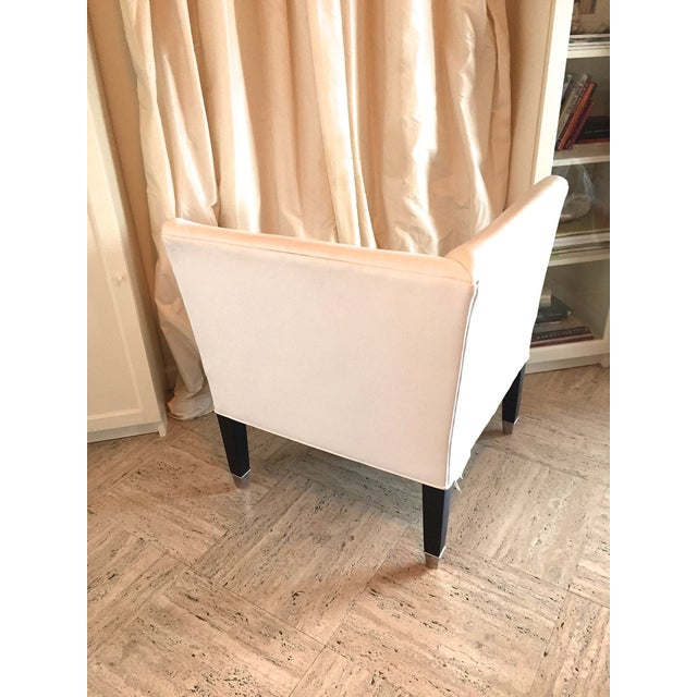 Contemporary Mitchell Gold White Leather Corner Chair For Sale - Image 3 of 4