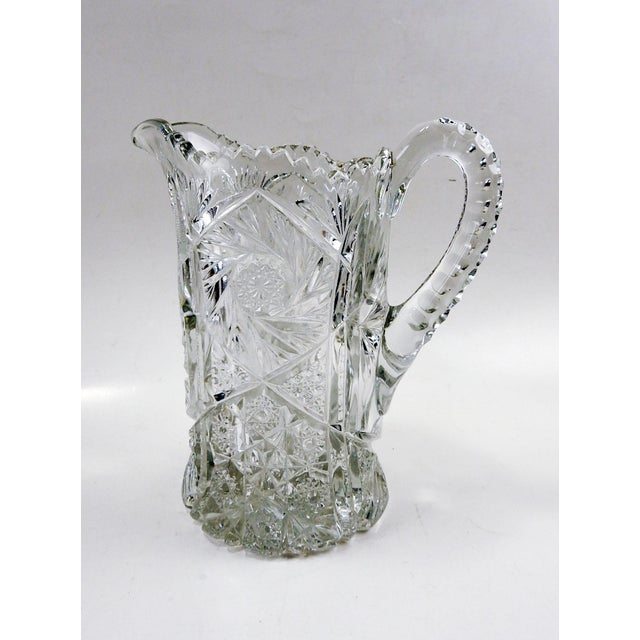 Glass Antique Press Glass Pitcher For Sale - Image 7 of 7
