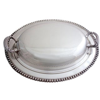1940's Antique Randolph Silver-Plate Covered Dish With Egg & Dart Motive