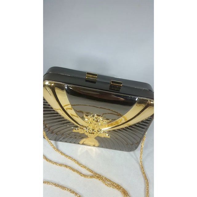 Vintage Gold and Gunmetal Hard Case Clutch With Hidden Chain For Sale - Image 4 of 5
