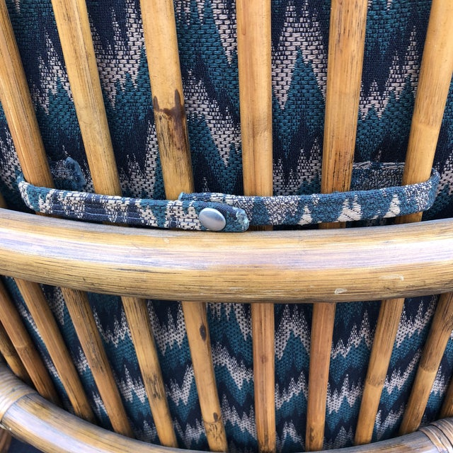 Rattan 1960s Anglo-Indian Rattan Swivel Lounge Chairs - a Pair For Sale - Image 7 of 13