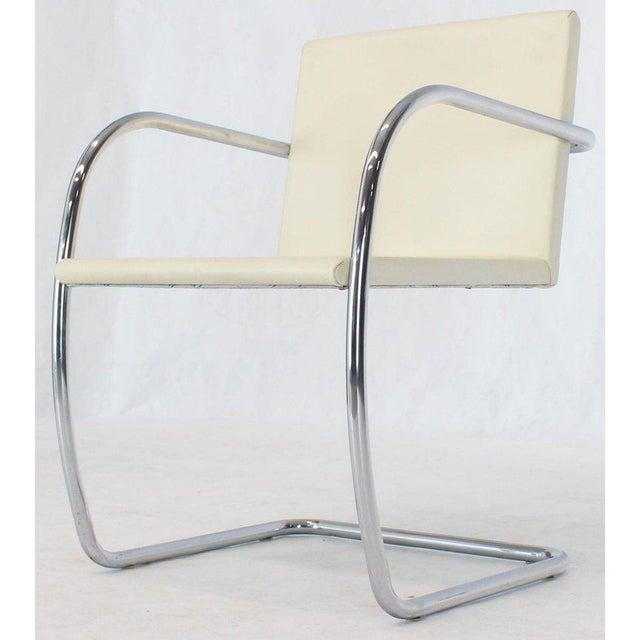 Pair of Thin Pad Tubular Brno Knoll Cream Leather Chairs Midcentury Bauhaus For Sale - Image 11 of 13