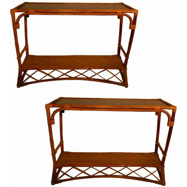 French Vintage Colonial Bamboo Consoles - Pair - Image 2 of 5