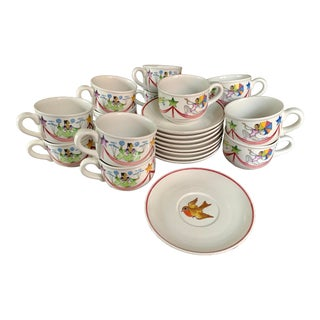 1980s Villeroy & Boch Le Cirque Cup and Saucer Set for 9 - 21 Piece Set For Sale