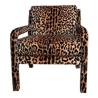 Milo Baughman Style Vintage Leopard Parsons Chair For Sale