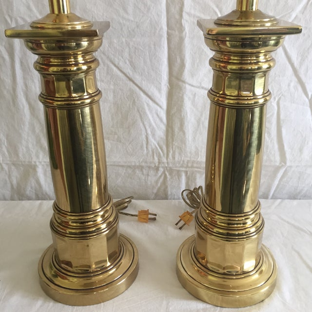 Ethan Allen Brass Column Table Lamps - A Pair - Image 7 of 8