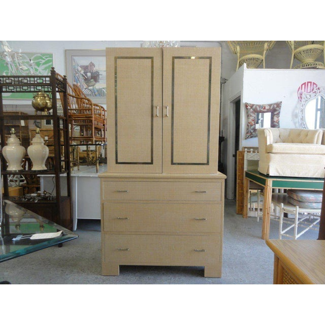 Vintage Linen Wrapped Cabinet - Image 11 of 11