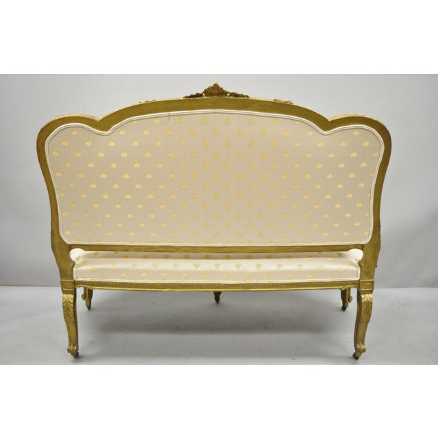 19th Century French Louis XV Style Gold Gilt Wood Parlor Salon Suite - 3 Pieces For Sale - Image 10 of 13