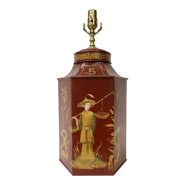 Red Chinoiserie Tea Caddy Lamp For Sale