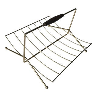 1960s Mid Century Modern Metal Magazine Rack For Sale