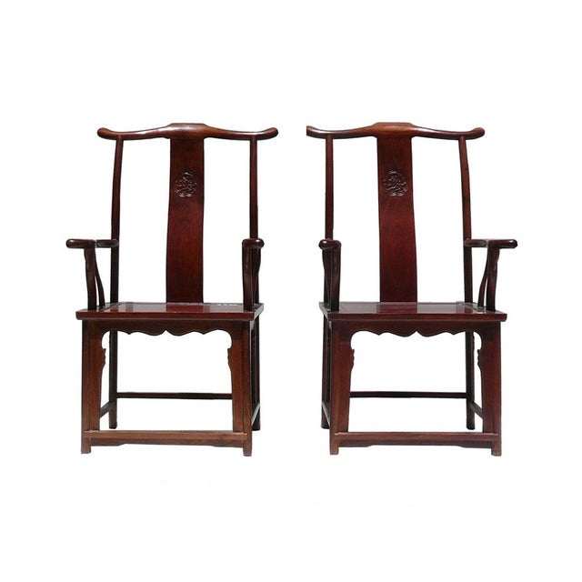Chinese Huali Rosewood Yoki-Back Armchairs - Pair For Sale
