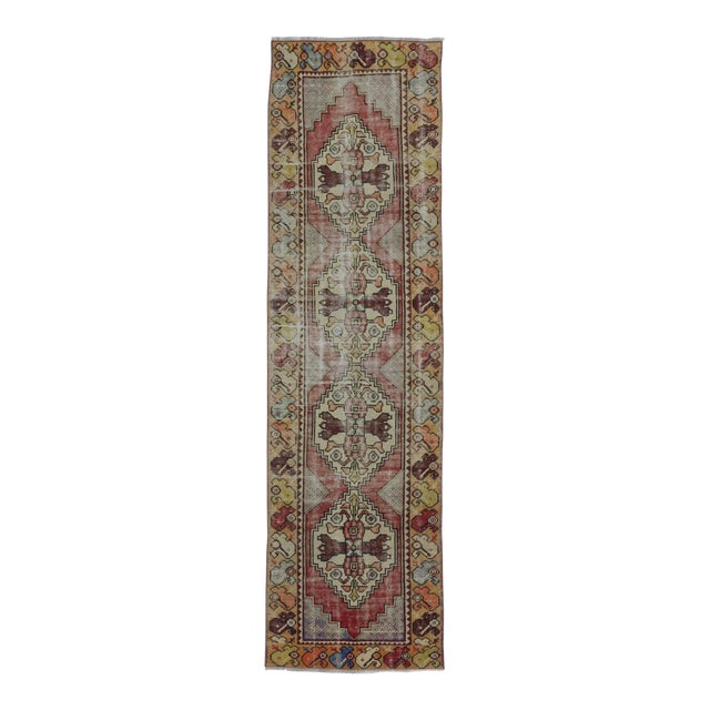 "Vintage Turkish Distressed Runner Rug - 2'5"" x 8'8"" - Image 1 of 6"