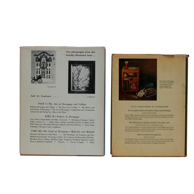 A pair of books on Decoupage; Decoupage by Patricia Nimocks, signed, hardcover, published in 1968 by Charles Scribner's...