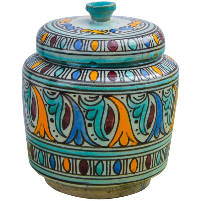 Early 20th Century Moorish-Patterned Ceramic Lidded Jar For Sale - Image 5 of 10