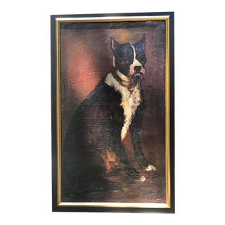 Late 19th Century French Portrait of a Dog Oil Painting, Framed For Sale