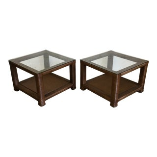 Janus Et Cie Wicker & Glass Top End Tables For Sale