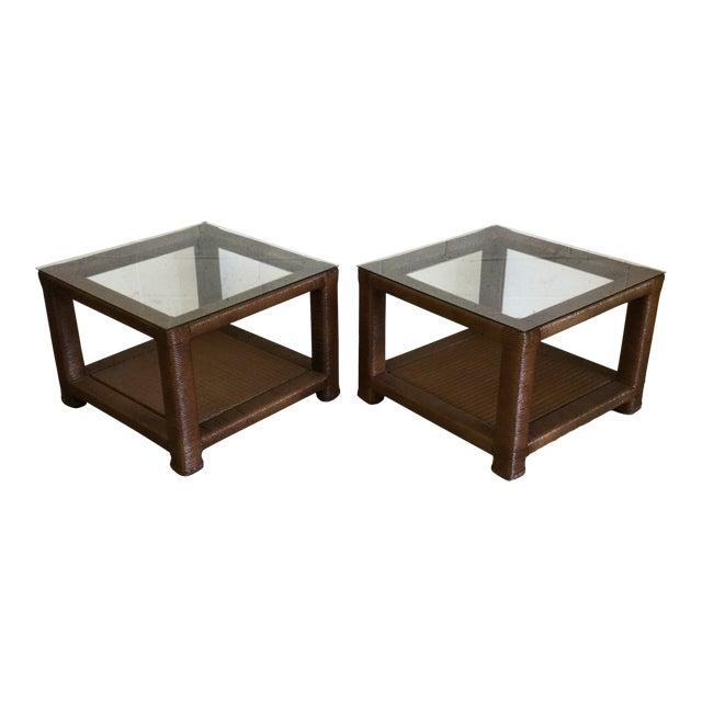Janus Et Cie Wicker & Glass Top End Tables For Sale