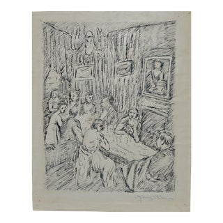 "Manuel Boccini (1890–1962) ""Dinner Ceremony"" Outstanding Pen and Ink C.1922 For Sale"