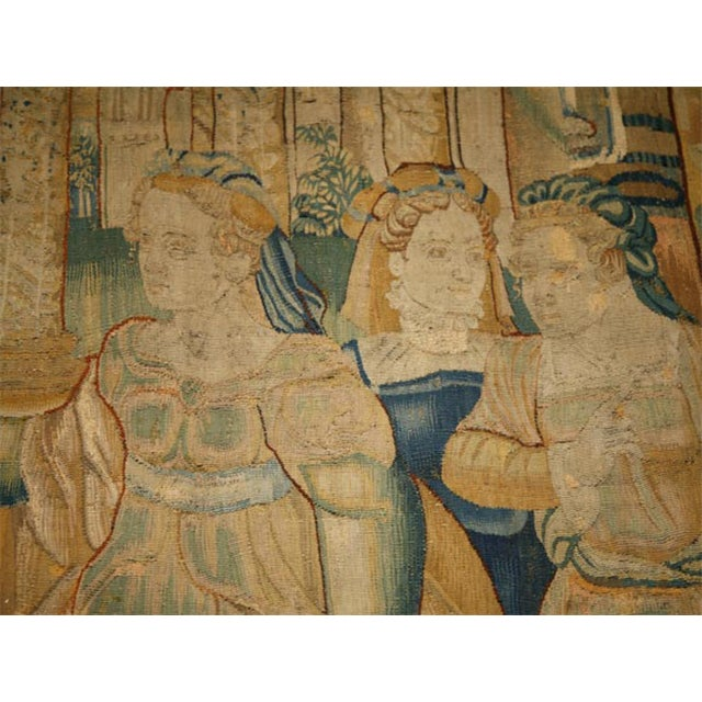 17th Century 17th Century Flemish Tapestry of Soldiers and Ladies Outside of a Walled City For Sale - Image 5 of 8
