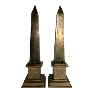 Vintage Italian Brass Obelisks - a Pair For Sale