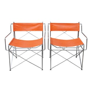 Faux Alligator Orange Chairs- A Pair For Sale