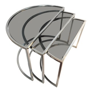 Late 20th Century Italian Chrome & Smoke Glass Nesting Tables - Set of 3 For Sale