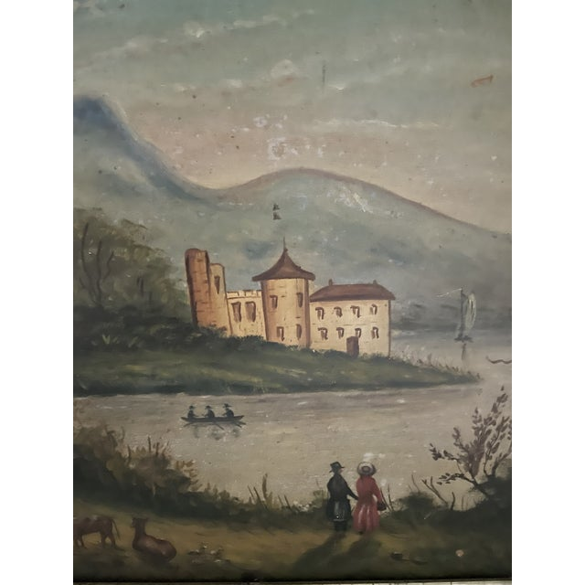 Wood Antique Oil Painting of Landscape For Sale - Image 7 of 13
