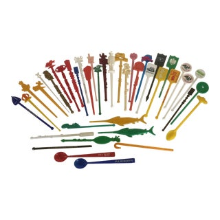 Vintage Collection of Assorted Plastic Swizzle Sticks - Group of 42 For Sale