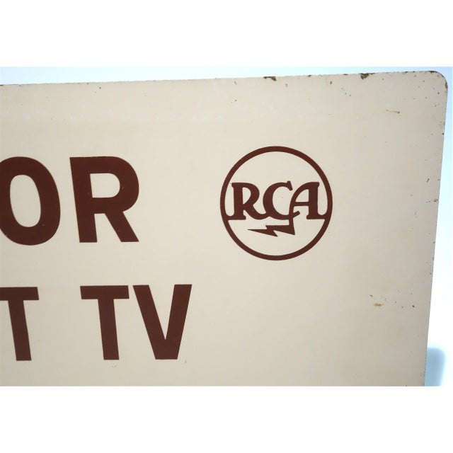 Art Deco Rca Portable Tv Advertising Sign Circa Mid-20th Century Brown Over Beige on Wood For Sale - Image 3 of 13
