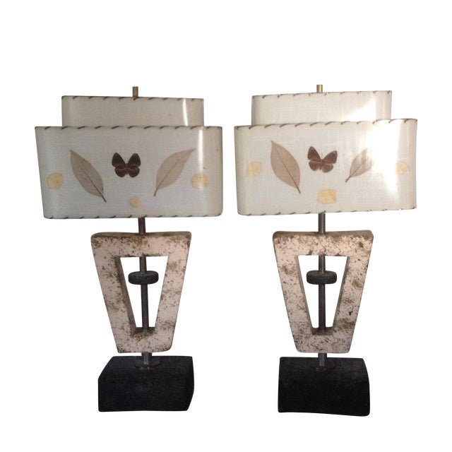 Deco Butterfly Cork Lamps - A Pair - Image 1 of 10