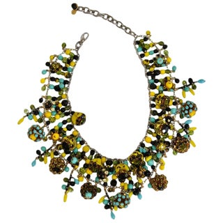 "Francoise Montague Glass and Swarovski Crystal ""Dara"" Necklace For Sale"