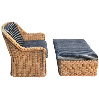 Italian Wicker Rattan Lounge Chair and Ottoman For Sale