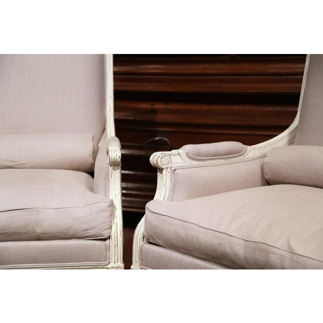 Pair of 19th Century French Louis XVI Carved Painted Armchairs With Pillows For Sale In Dallas - Image 6 of 9