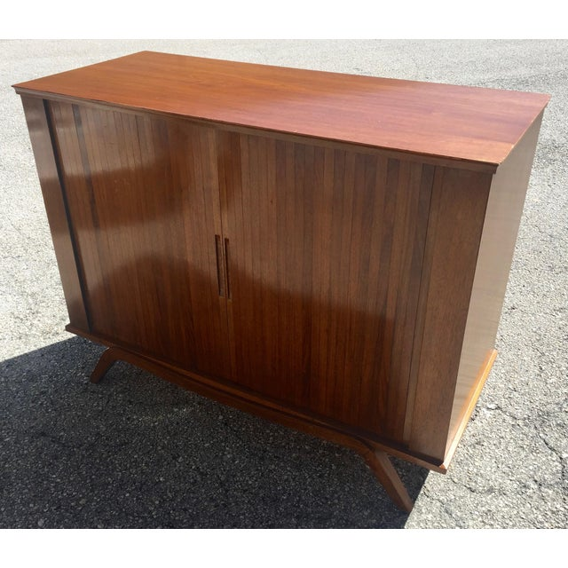 1960 Walnut Cabinet With Roll Doors/Work Station Desk For Sale - Image 10 of 10