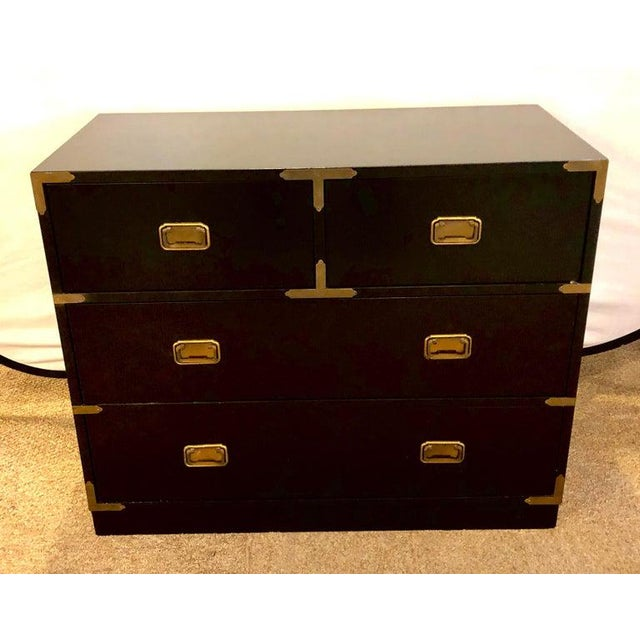 Campaign Campaign Style Ebony Chest / Dresser or Nightstand Attributed to Baker For Sale - Image 3 of 13